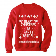 Merry Christmas Ya Party Animal Ugly Xmas Sweater