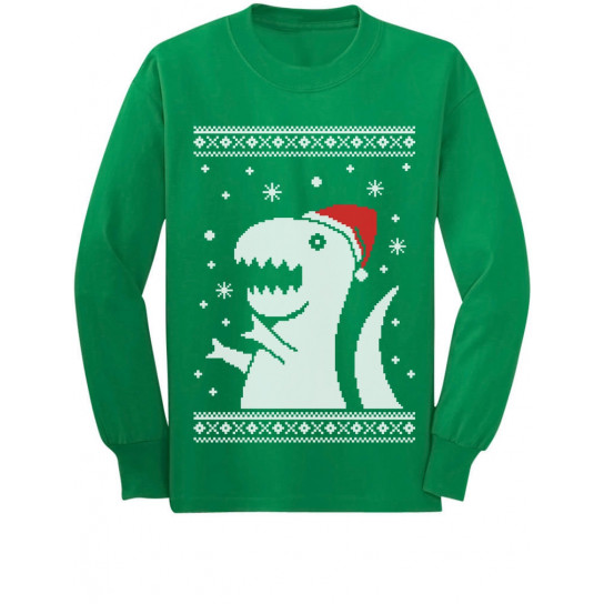 T Rex Ugly Christmas Sweater.Ugly Christmas Sweater Big Trex Santa Children Funny Christmas Greenturtle