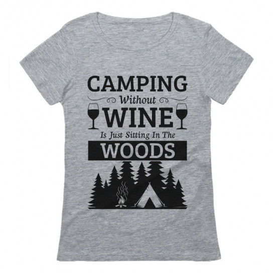 Camping Wine Sitting In The Woods Camper