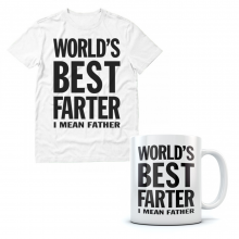 Worlds Best Farter, I Mean Father - Funny Mug  and T shirt Set