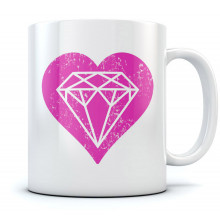 Pink Diamond Love Heart Mug