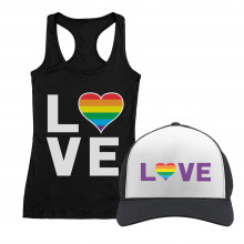 Love - Gay & Lesbian Pride Rainbow Cap and T-Shirt Set