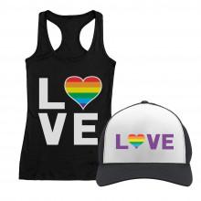 Love - Gay & Lesbian Pride Rainbow Cap and T-Shirt Set