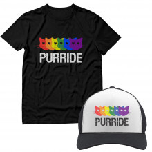 Purride Gay & Lesbian Pride Cat Lover Rainbow T-Shirt and Cap