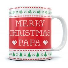 Ugly Christmas Sweater Coffee Mug - Merry Christmas Papa - Gift for Dad Xmas