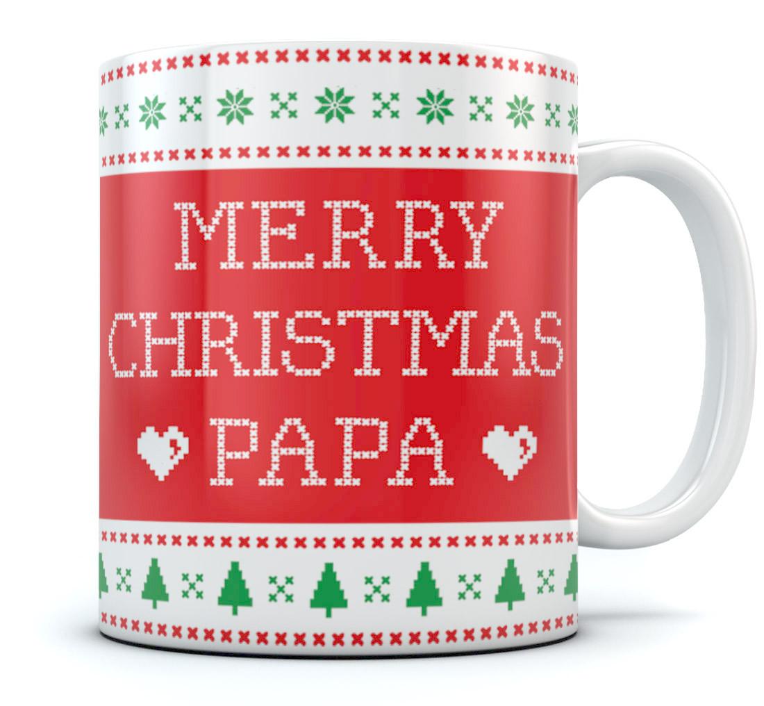 Ugly Christmas Sweater Coffee Mug - Merry Christmas Papa - Gift for ...