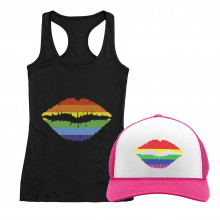 Gay Pride Rainbow Lips Cap and T-Shirt Set