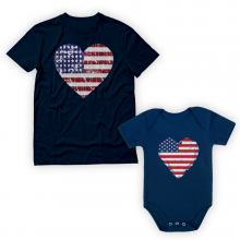 USA Heart Flag Patriotic Set