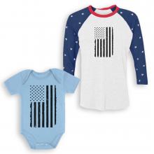 Big Black U.S Flag Parent Baby Set