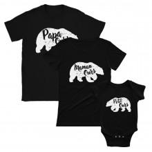 Maman Bebe Assortis Papa t-Shirt Naissance Mam Noir L/BB Noir 12-18 Mois/Dad Noir L