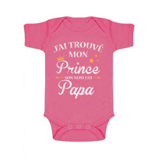 Green Turtle T-Shirts J'Ai trouvé Mon Prince C'est Papa! Cadeau Fête des pères Body Bébé Manche Courte 0-3 Mois Bleu Ciel