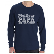 Green Turtle T-Shirts Cadeau Fête des Pères - Meilleur Papa Au Monde T-Shirt Manches Longues Homme