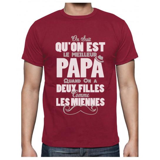 Green Turtle T-Shirts Meilleur Papa avec Deux Filles comme Les Miennes T-Shirt Homme