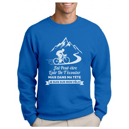 Green Turtle T-Shirts Vêtement Cycliste Homme dans Ma Tête Je suis sur Mon Vélo Sweatshirt Homme