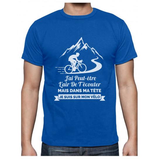 Vêtement Cycliste Homme dans Ma Tête Je suis sur Mon Vélo T-Shirt Homme