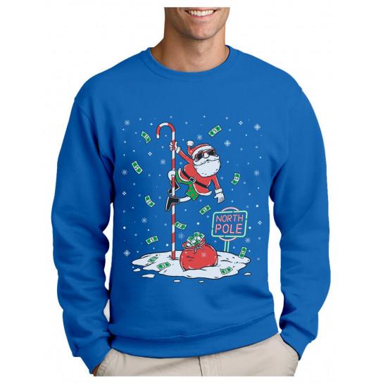 Pull Noel Pole Dance du Pere Noel Humour Sweatshirt Homme