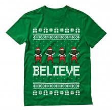 Believe Black Santa Elves Ugly Christmas Sweater
