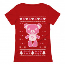 Big Pink Furry Bear Doll Ugly Christmas Sweater Funny