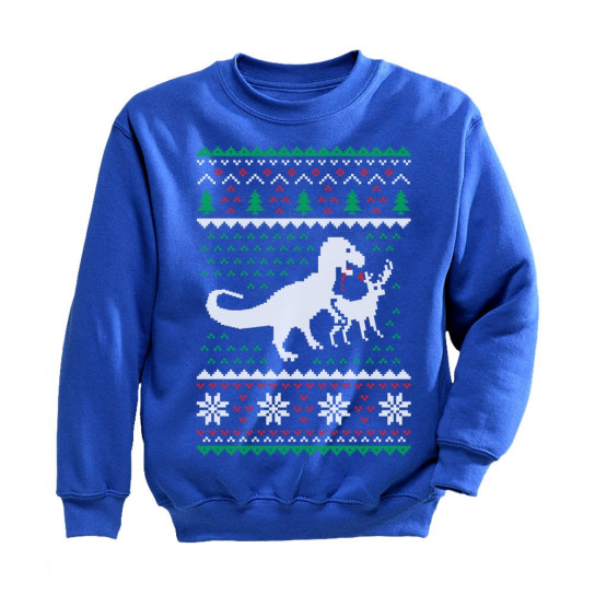 T Rex Christmas Sweater.Ugly Christmas Sweater T Rex Vs Reindeer Funny Gift Christmas Greenturtle