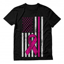 Breast Cancer Awareness USA Flag Pink Ribbon Support