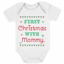 Cute Xmas Baby Grow Vest - First Christmas With Mommy