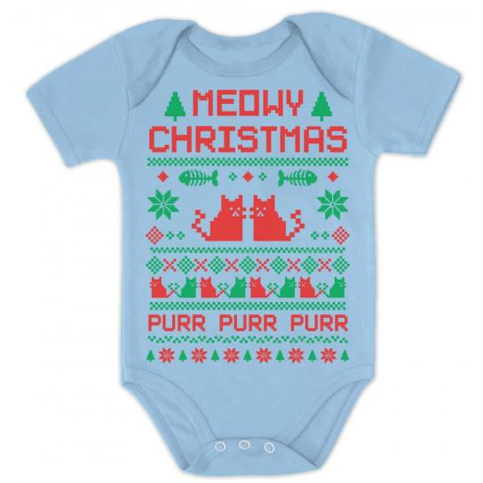 Meowy Christmas Sweater.Cute Xmas Bodysuit Meowy Christmas Ugly Sweater Design Christmas Greenturtle