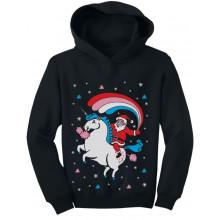 Santa Riding Unicorn Rainbow Ugly Christmas