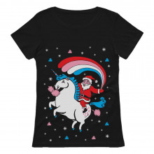 Santa Riding Unicorn Rainbow Ugly Xmas